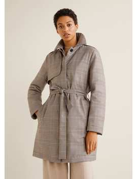 Checkered Quilted Trench by Mango