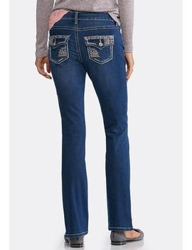 Petite Colorful Stitch Bootcut Jeans by Cato