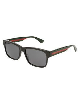 Square Acetate Sunglasses With Signature Web by Gucci