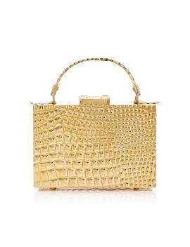 Croco Stamped Brass Mini Grace Box Bag by Mark Cross