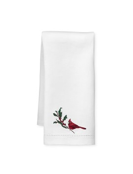 Twas The Night Cardinal Embroidered Guest Towels, Set Of 2 by Williams   Sonoma