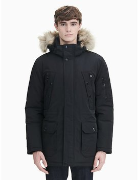 Faux Fur Hood Parka Jacket by Calvin Klein