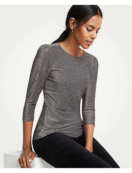 Shimmer Puff Sleeve Top by Ann Taylor