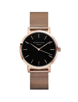 **The Mercer Black And Rose Gold Watch By Rosefield by Topshop