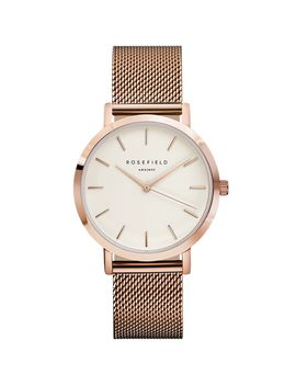 **The Mercer White And Rose Gold Watch By Rosefield by Topshop