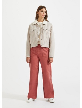 Nude Cord Trucker Jacket by Miss Selfridge