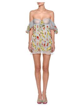Beaded Off The Shoulder Organza Mini Dress by Attico