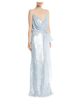 Sleeveless Draped Sequined Evening Gown W/ Chiffon Belt by Badgley Mischka