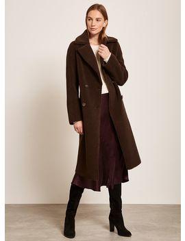 Brown Teddy Long Coat by Mint Velvet