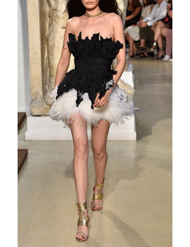 Taffetas Dress With Contrast Feathers by Dundas