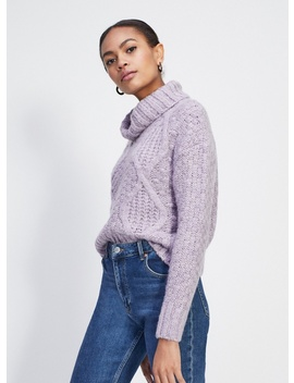 Lilac Cable Roll Neck Knitted Jumper by Miss Selfridge