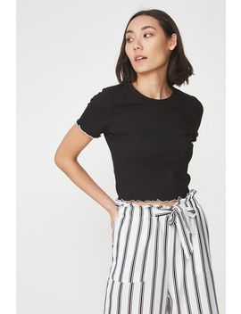 Rib Lettuce Edge Short Sleeve Cropped Top by Cotton On