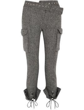 Lace Up Herringbone Wool Skinny Pants by Monse