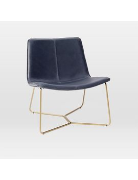 Slope Leather Lounge Chair, Agean, Antique Brass, Ups by West Elm