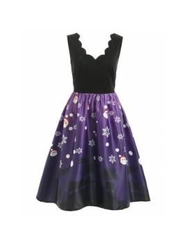 "<P>Christmas Santa Claus Print Sleeveless Dress</P><I Class=""Icon Down Js Tap Up Down""></I> by Dress Lily"