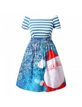 "<P>New Christmas Santa Claus Print Striped Color Block Off Shoulder Tutu Dress</P><I Class=""Icon Down Js Tap Up Down""></I> by Dress Lily"