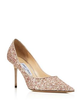 Women's Pointed Toe Glitter Leather Pumps by Jimmy Choo