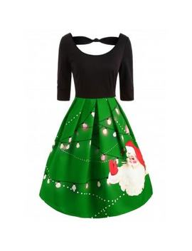 "<P>Knotted Christmas Santa Print Vintage Dress</P><I Class=""Icon Down Js Tap Up Down""></I> by Dress Lily"