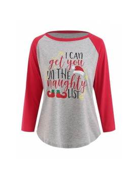 """<P>Christmas Letter Print Contrast Baseball Tee</P><I Class=""""Icon Down Js Tap Up Down""""></I> by Dress Lily"""