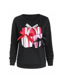 "<P>Gift Print Bowknot Christmas Sweatshirt</P><I Class=""Icon Down Js Tap Up Down""></I> by Dress Lily"