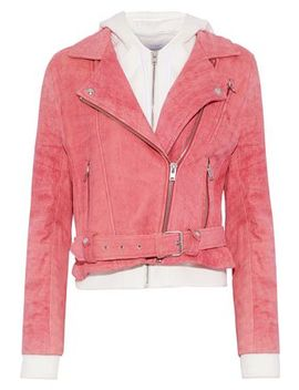 Layered Cotton And Suede Hooded Biker Jacket by Iro