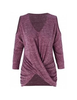 "<P>Front Knot V Neck Knitwear</P><I Class=""Icon Down Js Tap Up Down""></I> by Dress Lily"