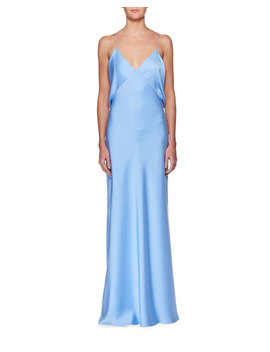 Gran V Neck Draped Back Sleeveless Silk Evening Gown by The Row