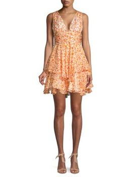 Printed Ruffle Silk Fit & Flare Dress by Caroline Constas