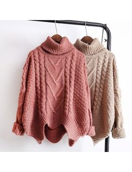 Chevre   Cable Knit Turtleneck Sweater by Chevre