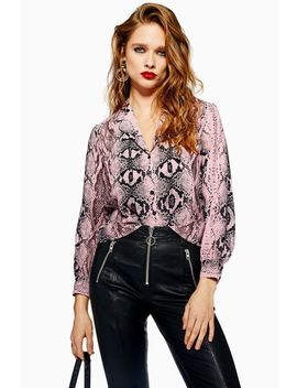 Petite Pink Snake Shirt by Topshop