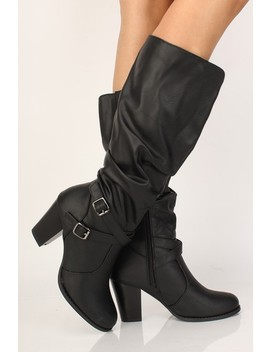 Sexy Black Slouchy Chunky High Heels Boots Faux Leather by Ami Clubwear