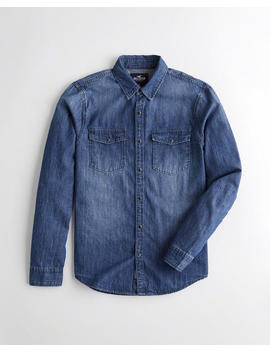 Dark Wash Denim Shirt by Hollister