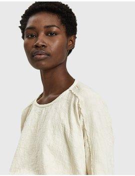 Cotton Jacquard Top In Cream by Black Crane