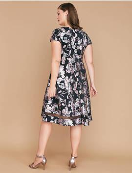 Foil Floral Print Fit & Flare Dress by Lane Bryant