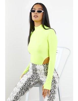 Neon Green Long Sleeve High Neck Bodysuit by Sorella