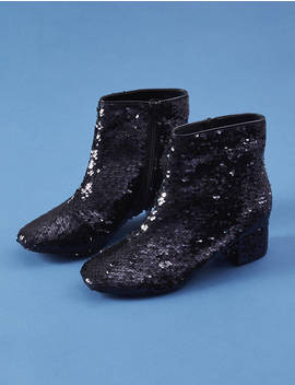 Sequin Low Block Heel Ankle Boot by Lane Bryant