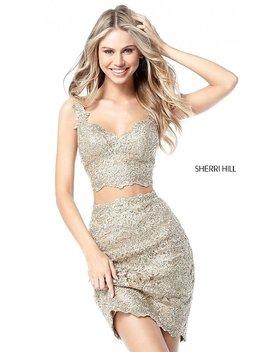 Sherri Hill Short Metallic Lace Homecoming Dress by Promgirl