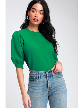 Glenna Green Puff Sleeve Sweater Top by Honey Punch