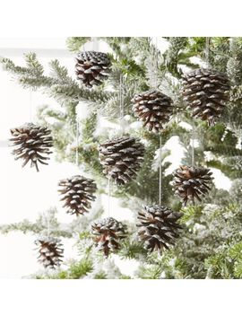 Silver Pinecone Ornaments, Set Of 10 by Crate&Barrel