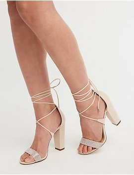Crystal Ankle Wrap Sandals by Charlotte Russe