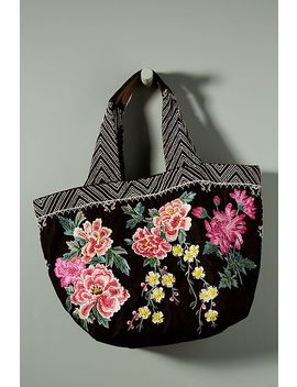 Floral Embroidered Velvet Tote Bag by Anthropologie