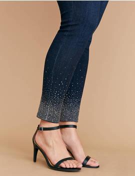 Super Stretch Skinny Jean   Gradient Sparkle Hem by Lane Bryant
