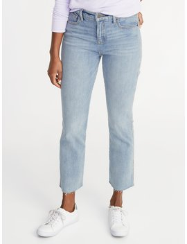 High Rise Secret Slim Pockets Raw Edged Flare Ankle Jeans For Women by Old Navy