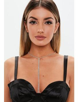 Silver Look Diamante Chain Necklace by Missguided