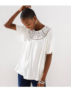 Cutout Lace Yoke Top by Loft