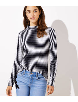 Striped Button Back Mock Neck Top by Loft