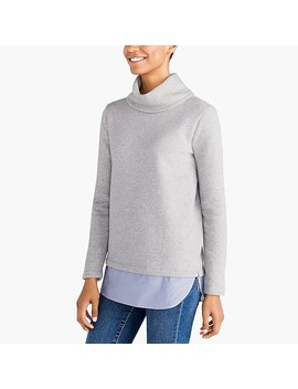 Tunnelneck Pullover With Woven Hem by J.Crew