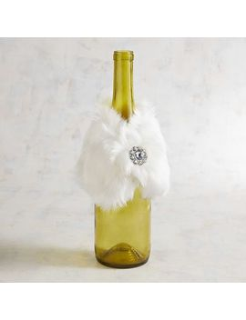 White Faux Fur Stole Bottle Cover by Pier1 Imports