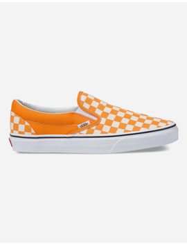 Vans Dark Cheddar Checkerboard Classic Slip On Shoes by Vans
