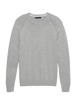 Textured Cotton Crew Neck Sweater by Banana Repbulic